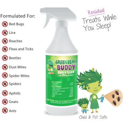 Bed Bug Spray, Lice, Flea, Tick, Beetle, Mite, and Roach Killer With Residual Protection, 32oz
